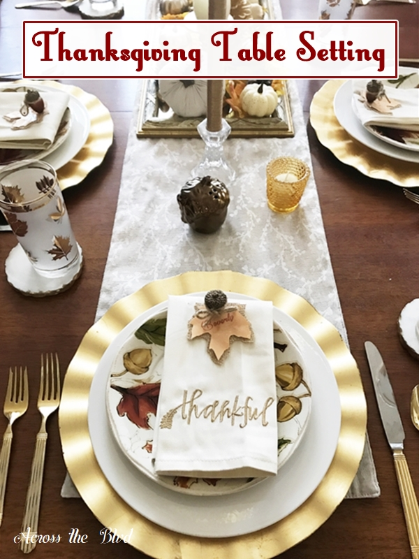 Thanksgiving Table Setting With Diy Place Cards Across